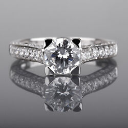 4 Prongs Round Diamond Ring 1.75 Ct Colorless 18k White Gold Si1 D Size 6.5 8 9