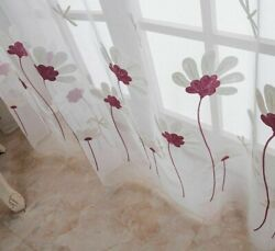 Pastoral Floral Sheer Curtain For Living Room Mesh Fabric Drape Embroidery Tulle