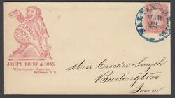 Usa, Sc 65 Tied By Blue Baltimore Cancel On Glue Advertising Cover To Iowa