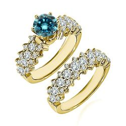 1.75 Carat Real Blue Diamond Cluster Solitaire Wedding Ring Band 14k Yellow Gold