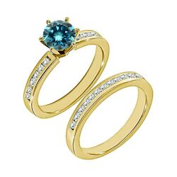 1 Carat Real Blue Diamond Solitaire Fine Bridal Ring Band Set 14k Yellow Gold