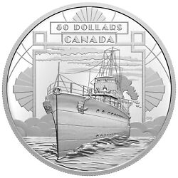 2021 Canada 50 100 Years Confederation Coming Of Age Boat Ship 5 Oz Silver Coin