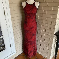 Vintage Cache Red Evening Maxi Dress Gown 100% Silk Beaded Prom Pageant Small $129.99