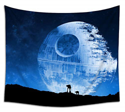 Jacoci Blue Death Star Wall Tapestry Hanging Cool Design for Bedroom Living Room