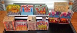 Marx Newlyweds And Home Town Playsets 1920's Tin Litho 5 Businesses And 4 Rooms