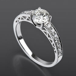 Solitaire Accented Diamond Ring Filigree 18k White Gold 1.2 Carats 4 Prong