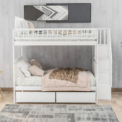 Wooden Full Over Full Bunk Bed Frame With 2 Storage Drawers And Storage Ladder