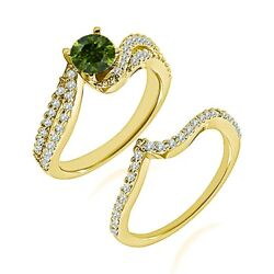1.5 Carat Real Green Diamond By Pass Solitaire Cluster Ring Band 14k Yellow Gold