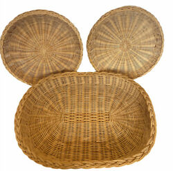 4 Vintage Wicker Rattan Paper Plate Holders And Wicker 16 X 12 Serving Tray Lot