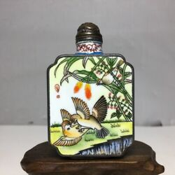 Old Beijing Chinese Cloisonne Snuff Bottle Enamel Painted Flowers Bird Box Gifts