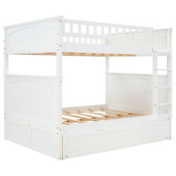 Twin Size Bunk Bed Wooden Loft Home Bedroom Safe W/ladder And Safety Rail Usa