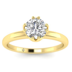 0.9ct D-si1 Diamond Vintage Engagement Ring 18k Yellow Gold Any Size