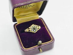 Late Georgian 14k Gold Sapphire And Pearl Cluster Antique Ring