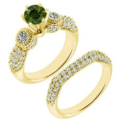 1.5 Carat Real Green Diamond Filigree Cluster Promise Ring Band 14k Yellow Gold
