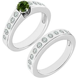 1.5 Carat Real Green Diamond Channel Promise Wedding Ring Band 14k White Gold
