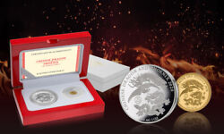 2020 Fiji Chinese Dragon And Phoenix 1 Gram Gold And 1 Oz Silver Coin Set - 888 Made
