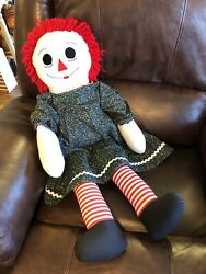 """Large 35"""" Raggedy Anne Doll """"i Love You"""" With Green Floral Dress"""