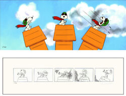 Peanuts Snoopy's Dogfight Limited Ed Of 150 Animation Cel N Print Signed Mlc16