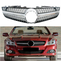 1pc Front Racing Grills Fit For Mercedes-benz R230 Sl Class 08-12 Diamond Silver