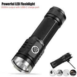 3500lm Powerful Led Flashlight Type C Usb Rechargeable Torch Cree Xhp50.2 Power