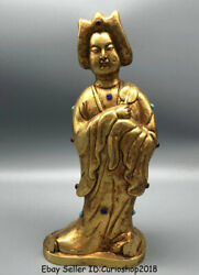 10.8 Old China Copper 24k Gilt Gold Gem Dynasty Palace Maid Beauty Woman Statue