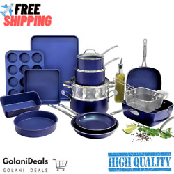 Complete Cookware Bakeware Set With Ultra Nonstick Durable Mineral Surface 20pcs