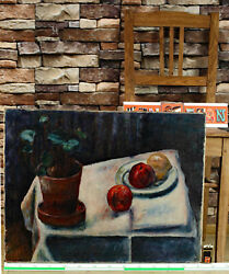 Oil Painting Antique Impressionist Academic Still Life Expressive Table Plant