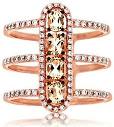 Large 1.02ct Diamond And Aaa Morganite 14k Rose Gold 3d Oval And Round Halo Bar Ring
