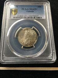 1918 Pcgs Graded Canadian ¢25 Cent, Ms-65+