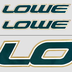 Lowe Boat Logo Decal Omc 008550 | 27 1/2 X 4 Inch Green Gold Pair