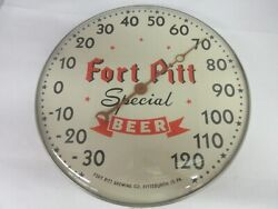 Vintage Advertising Fort Pitt Beer Round Thermometer Tavern Bar Store M-500