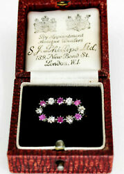 Antique Ruby Diamond Brooch In 14k Gold And Silver By S.j.phillips Org Box
