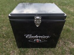 Rare Jim Beam Budweiser Small Cooler Ice Box Chest Whiskey Beer Bar Man Cave