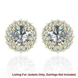 White Diamond Earring Jackets For 5.5 Mm 1.5 Total Carat Weight 14k Yellow Gold