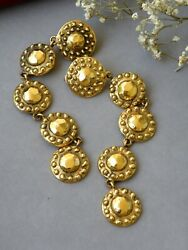 Earrings Rare Vintage Large And Long 5 Coins