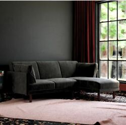 Dhp Clair Coil Sectional Futon Convertible Sofa Bed And Couch Black