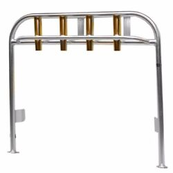 Tracker 1696768 Aluminum 51 X 44 Inch 4 Gold Rod Holders Boat Leaning Post