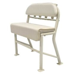 Boat Leaning Post Seat | 36 3/8 X 41 1/2 Inch White Aluminum Scuffs
