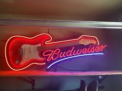 """Budweiser Limited Edition Electric Guitar Neon Sign Rare Aria """"true Music"""""""