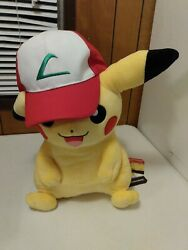 Pokemon Plush Ash's Pikachu With Hat Pokemon Center New With Tags