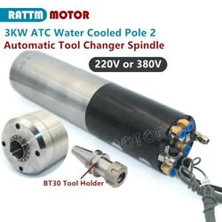 3kw Atc Automatic Tool Change Water Cooling Spindle Motor 100mm Bt30 380v/220v