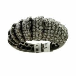 Natural Pave Diamond Solid 925 Sterling Silver Mothers Band Womens Ring Jewelry