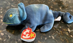 Ty Beanie Baby Rainbow Chameleon 1997 Retired Tag Errors Wrong Fabric
