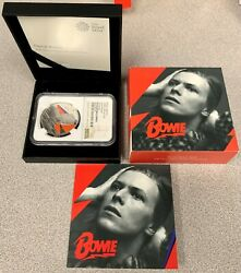 2020 Great Britain Music Legends David Bowie 1 Oz Silver Proof Coin - Ngc Pf 70