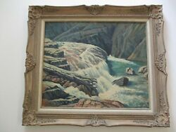 Antique Vintage American Oil Painting Waterfall Landscape River Exhibited Ford