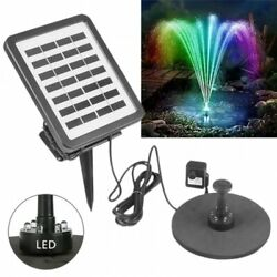 Led Night Light Solar Fountain Water Pump Floating Garden Kit Submersible Outdoo
