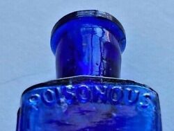 Cobalt Blue Tiny 1/4 Oz Embossed Poisonous And Not To Be Taken Empty Poison Bottle