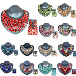 Statement Rhinestone Indian Bridal Necklace Earrings Jewelry Sets Vintage Gifts