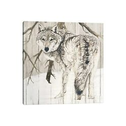 Icanvas Wolf In Woods By Jacquie Vaux Canvas Print