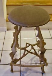 Vintage Arthur Court Metal Horn Bar Stool With Beige Leather Seat And Nailheads
